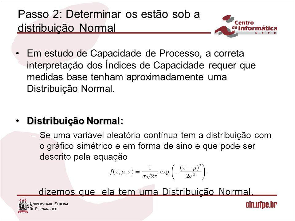 Passo 2: Determinar os estão sob a distribuição Normal