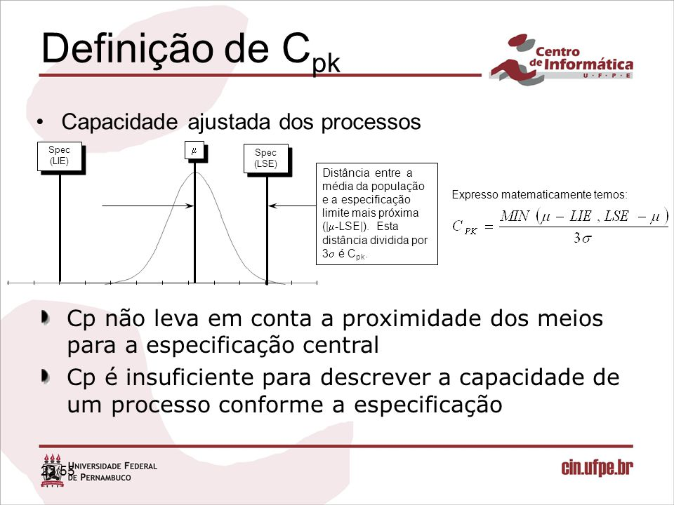 Definição de Cpk Capacidade ajustada dos processos