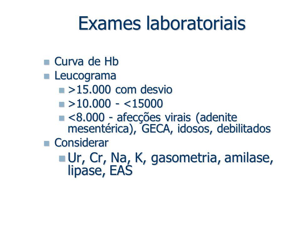 Exames laboratoriais Ur, Cr, Na, K, gasometria, amilase, lipase, EAS