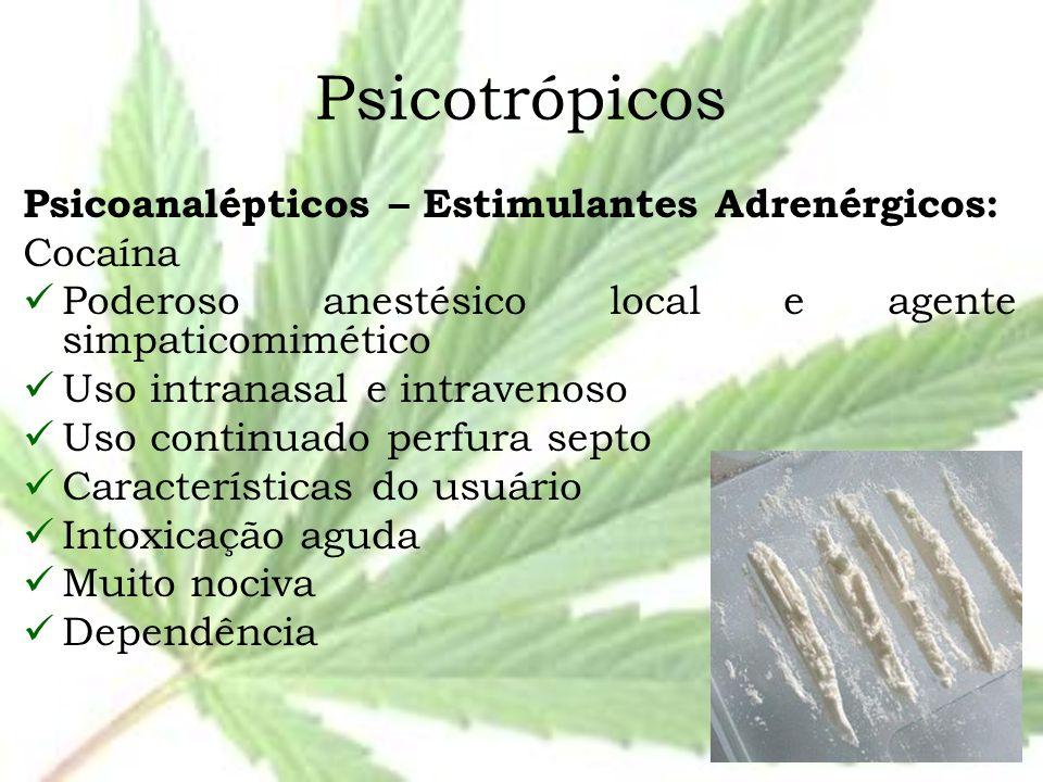 Psicotrópicos Psicoanalépticos – Estimulantes Adrenérgicos: Cocaína