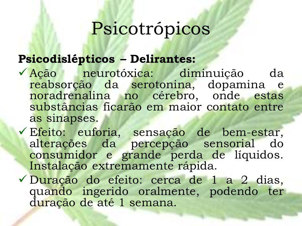 Psicotrópicos Psicodislépticos – Delirantes: