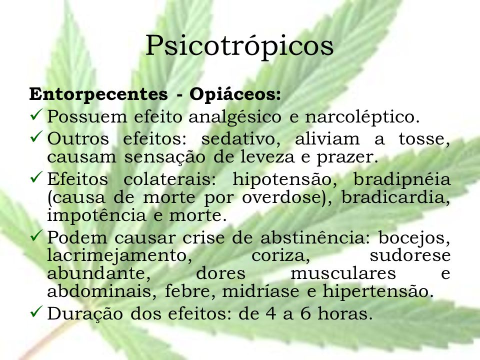 Psicotrópicos Entorpecentes - Opiáceos: