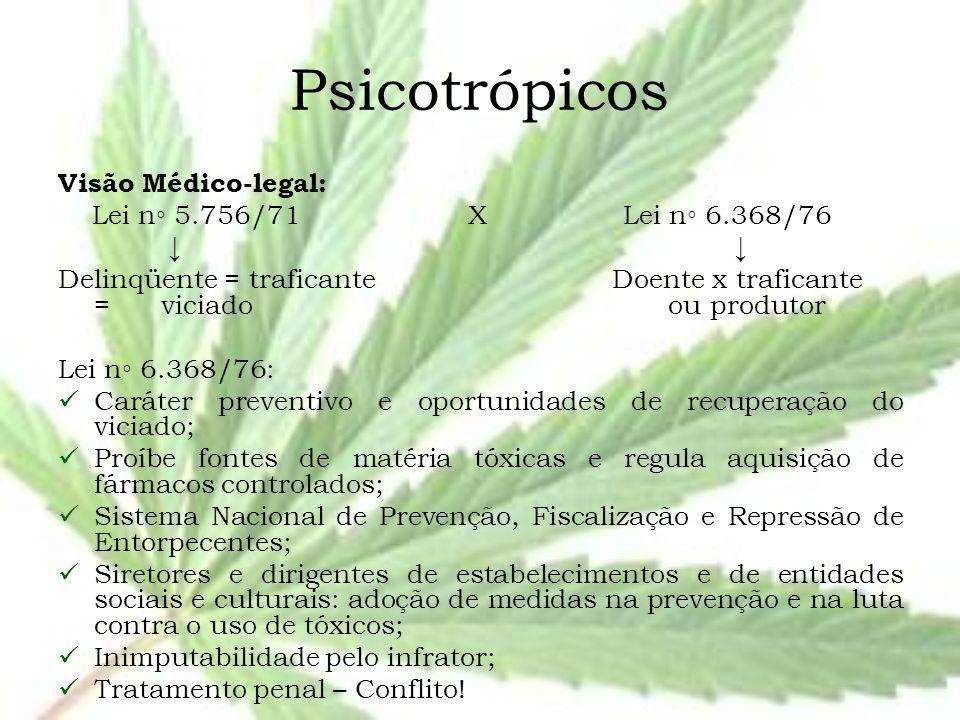 Psicotrópicos Visão Médico-legal: Lei n◦ 5.756/71 X Lei n◦ 6.368/76