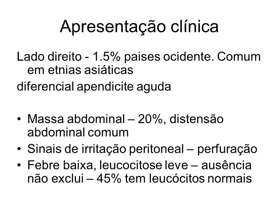Apresentação clínica Lado direito - 1.5% paises ocidente. Comum em etnias asiáticas. diferencial apendicite aguda.