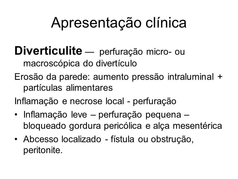 Apresentação clínica Diverticulite — perfuração micro- ou macroscópica do divertículo.