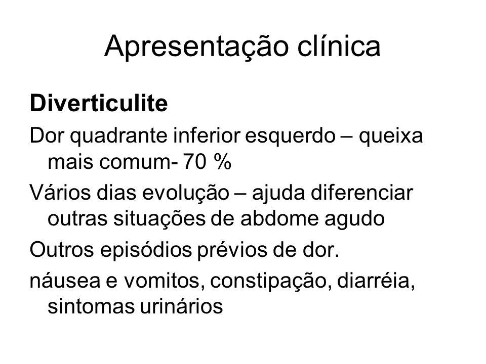 Apresentação clínica Diverticulite