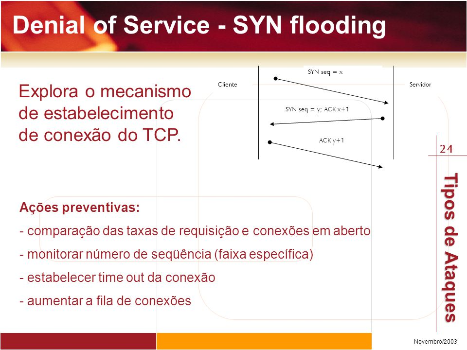 Denial of Service - SYN flooding