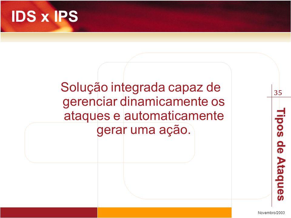 IDS x IPS Solução integrada capaz de gerenciar dinamicamente os ataques e automaticamente gerar uma ação.