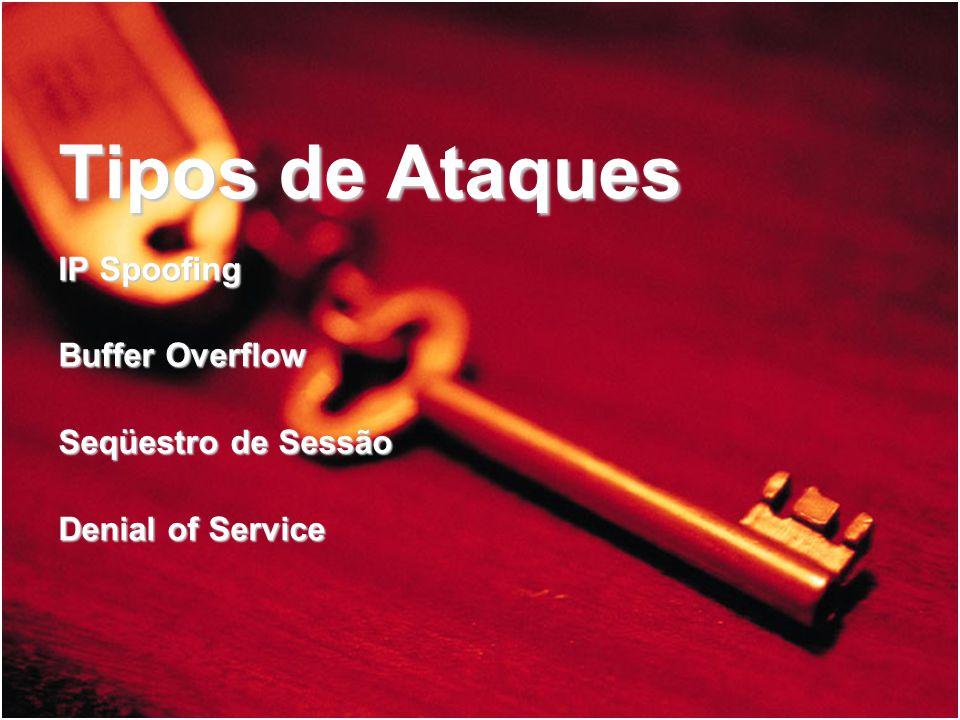 Tipos de Ataques IP Spoofing Buffer Overflow Seqüestro de Sessão Denial of Service