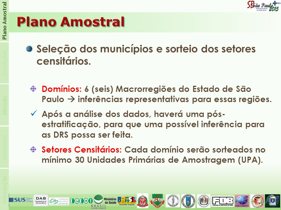 Plano Amostral Plano Amostral. Condições. Seleção dos municípios e sorteio dos setores censitários.