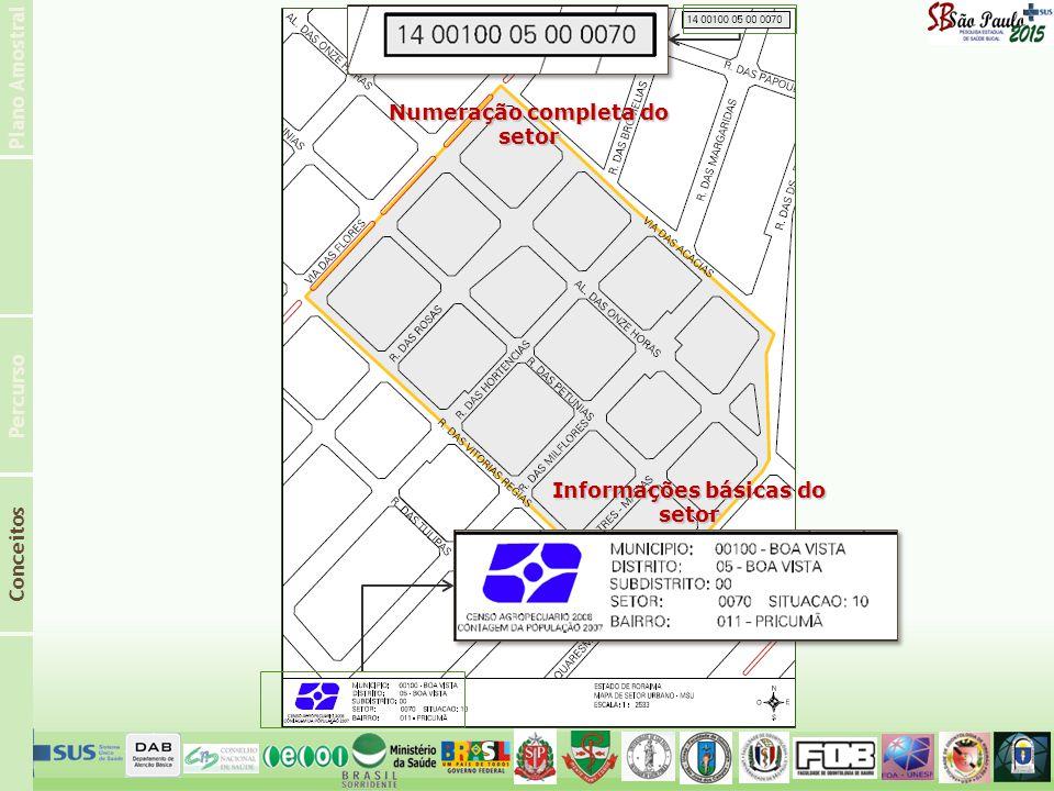 Numeração completa do setor Informações básicas do setor