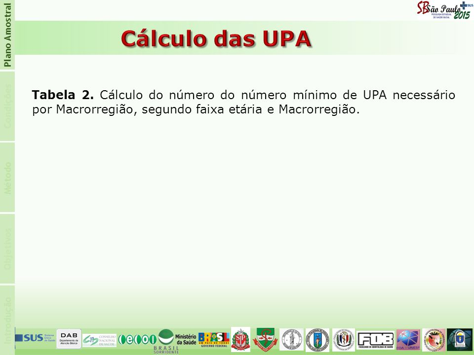 Plano Amostral Cálculo das UPA. Condições.