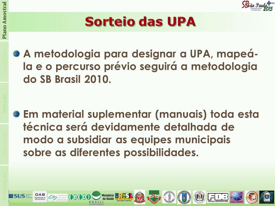 Plano Amostral Sorteio das UPA. Condições.
