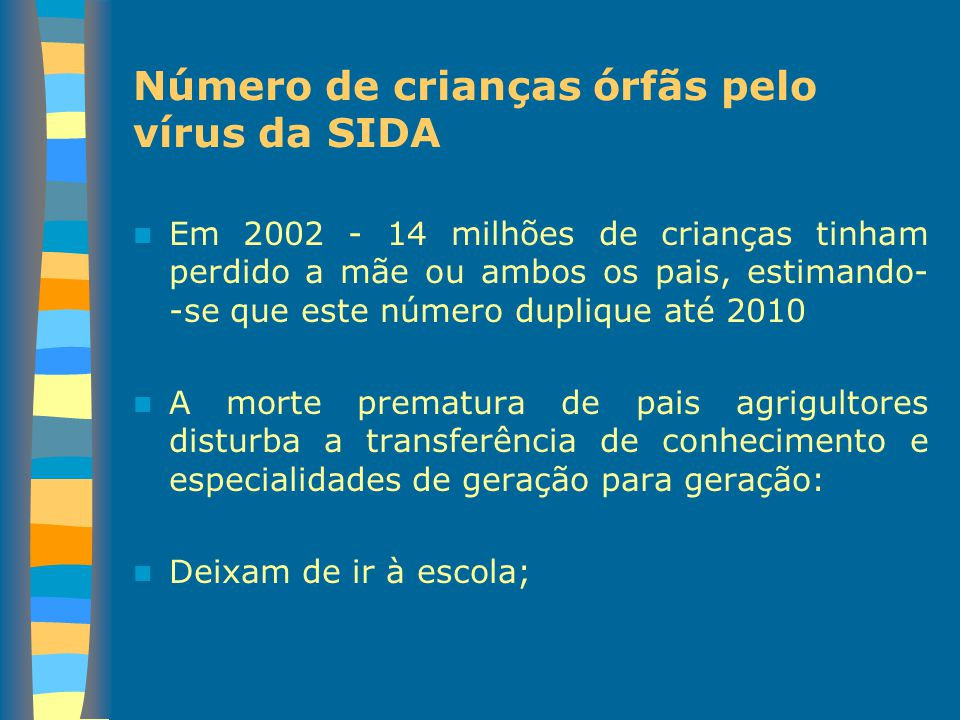 Número de crianças órfãs pelo vírus da SIDA