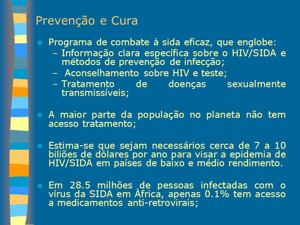 Prevenção e Cura Programa de combate à sida eficaz, que englobe:
