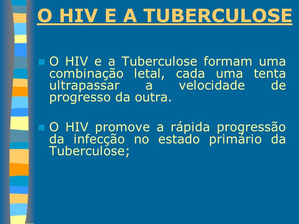 O HIV E A TUBERCULOSE O HIV e a Tuberculose formam uma combinação letal, cada uma tenta ultrapassar a velocidade de progresso da outra.