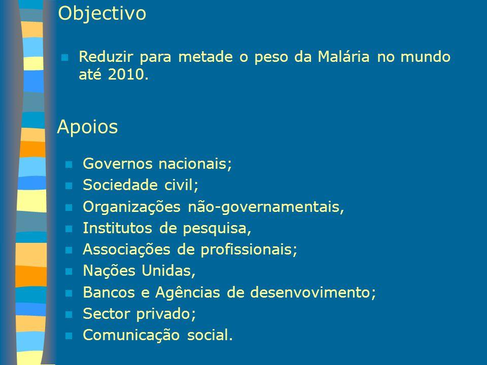 Objectivo Reduzir para metade o peso da Malária no mundo até 2010. Apoios. Governos nacionais; Sociedade civil;