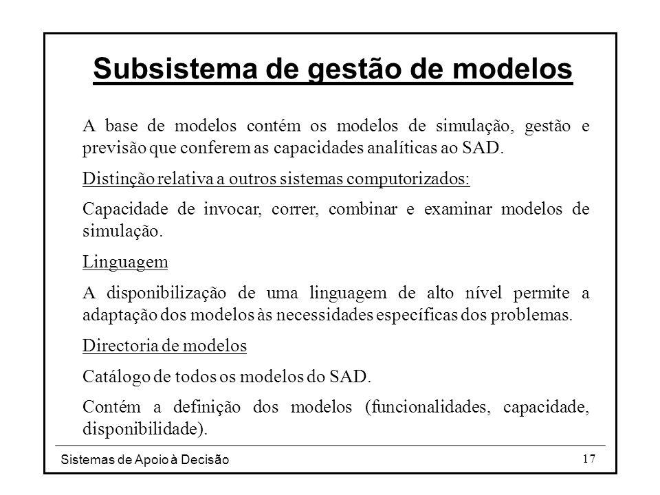 Subsistema de gestão de modelos