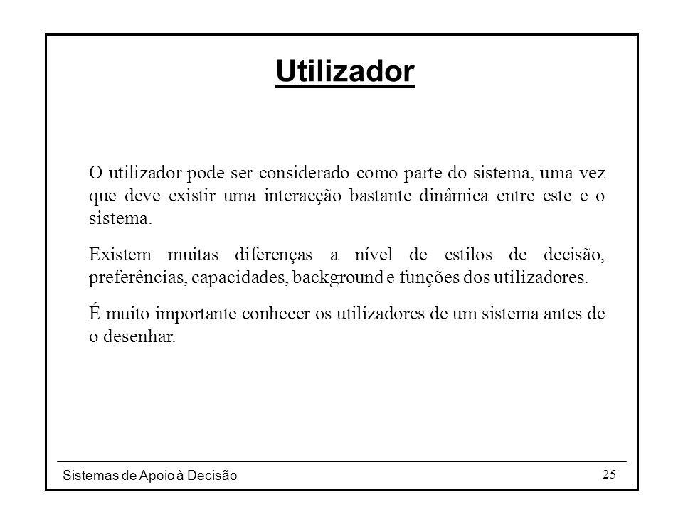 Utilizador O utilizador pode ser considerado como parte do sistema, uma vez que deve existir uma interacção bastante dinâmica entre este e o sistema.