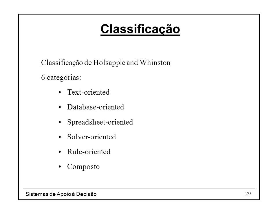 Classificação Classificação de Holsapple and Whinston 6 categorias: