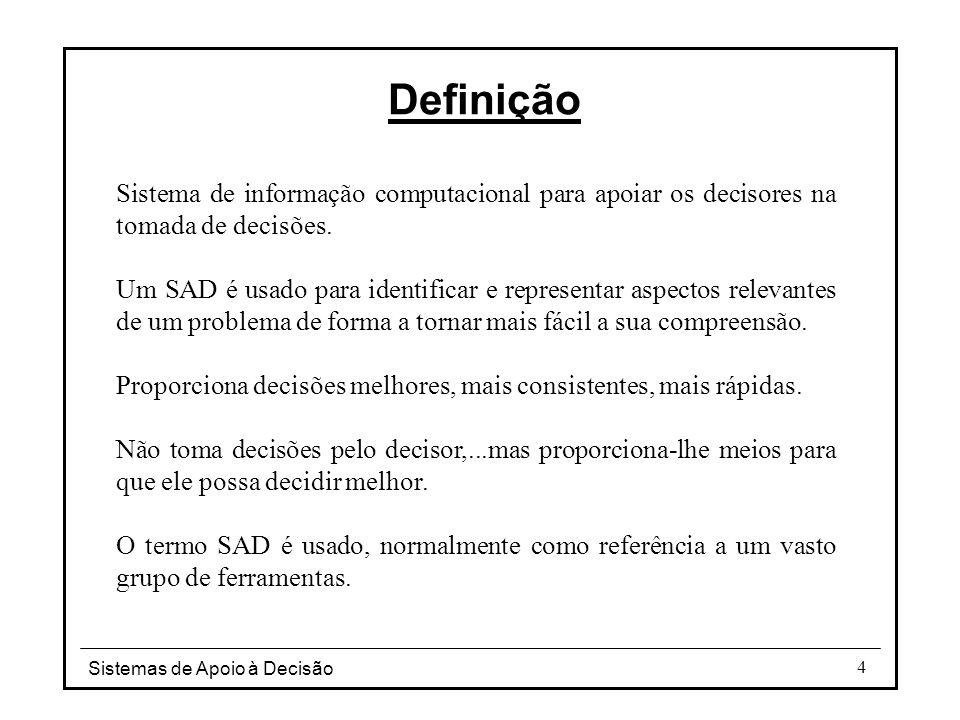 Definição Sistema de informação computacional para apoiar os decisores na tomada de decisões.