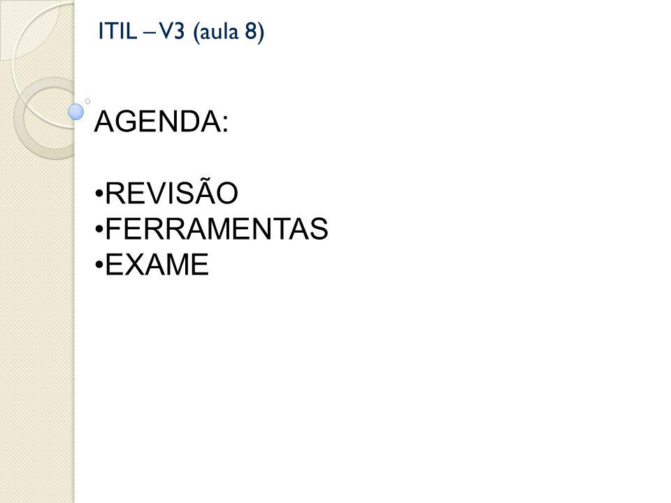 ITIL – V3 (aula 8) AGENDA: REVISÃO FERRAMENTAS EXAME