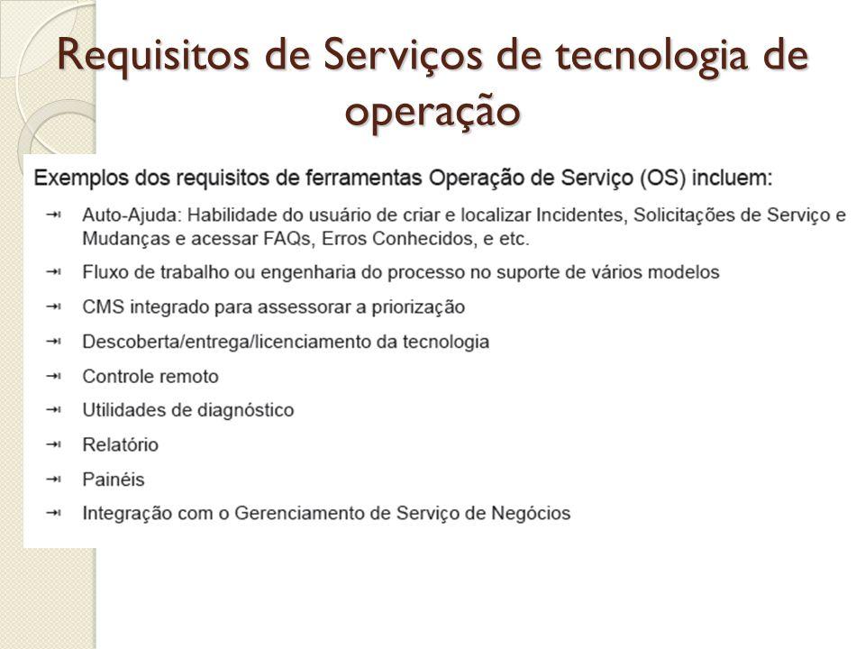Requisitos de Serviços de tecnologia de operação