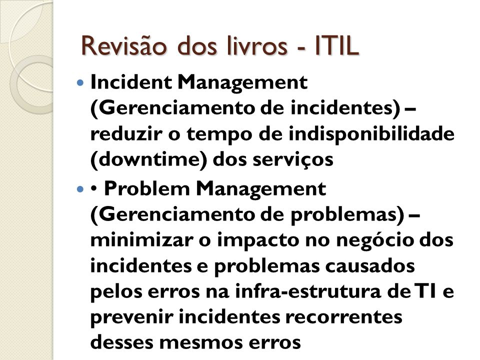 Revisão dos livros - ITIL