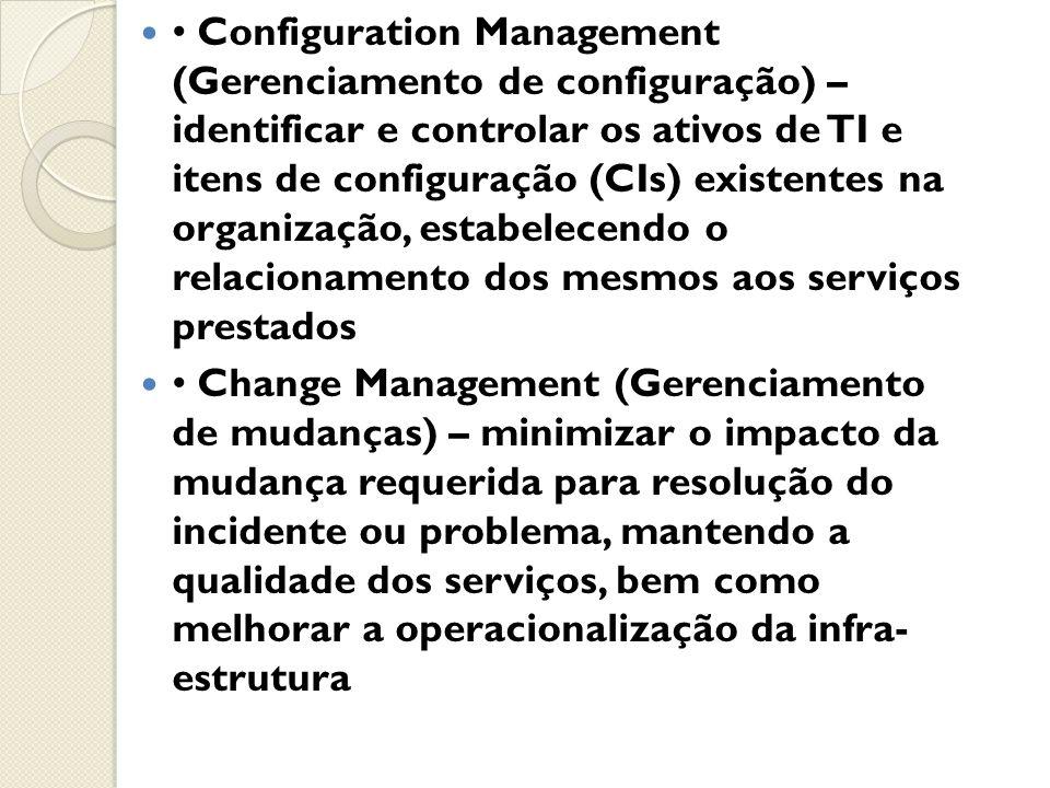 • Configuration Management (Gerenciamento de configuração) – identificar e controlar os ativos de TI e itens de configuração (CIs) existentes na organização, estabelecendo o relacionamento dos mesmos aos serviços prestados