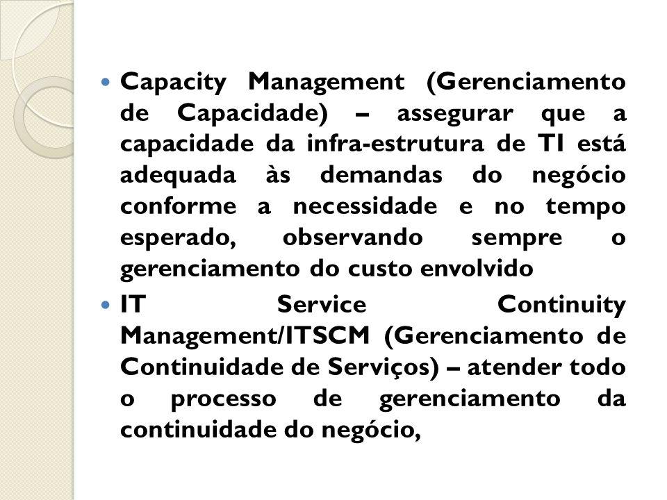 Capacity Management (Gerenciamento de Capacidade) – assegurar que a capacidade da infra-estrutura de TI está adequada às demandas do negócio conforme a necessidade e no tempo esperado, observando sempre o gerenciamento do custo envolvido