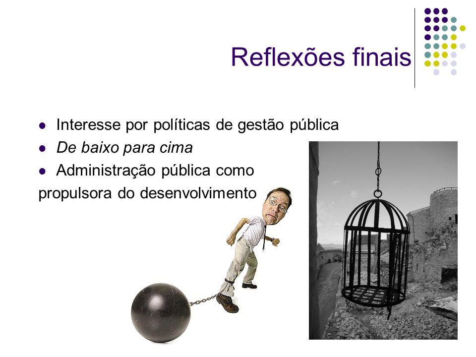 Reflexões finais Interesse por políticas de gestão pública