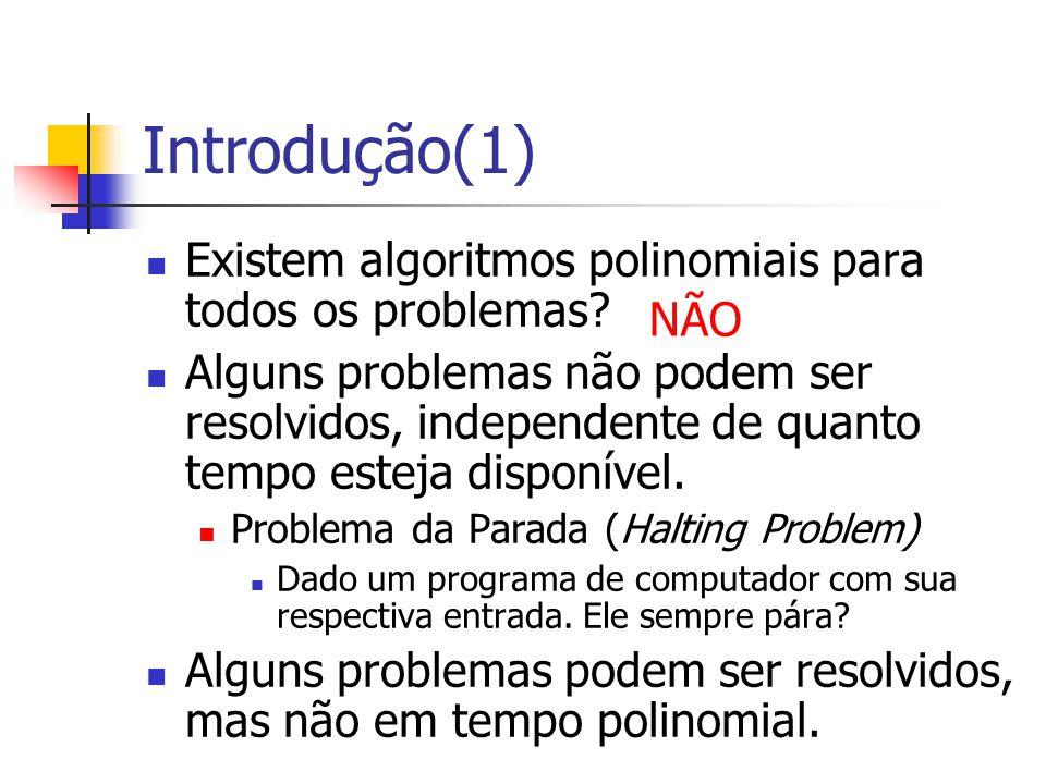 Introdução(1) Existem algoritmos polinomiais para todos os problemas