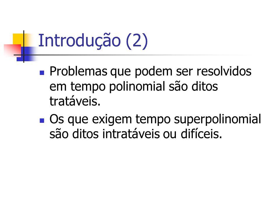 Introdução (2) Problemas que podem ser resolvidos em tempo polinomial são ditos tratáveis.