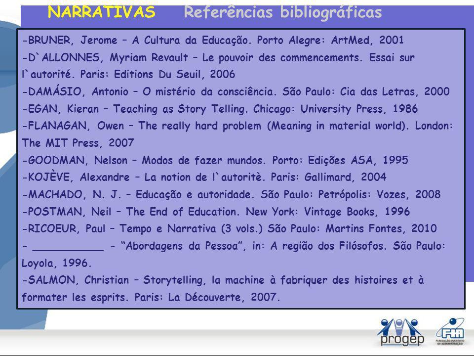 NARRATIVAS Referências bibliográficas