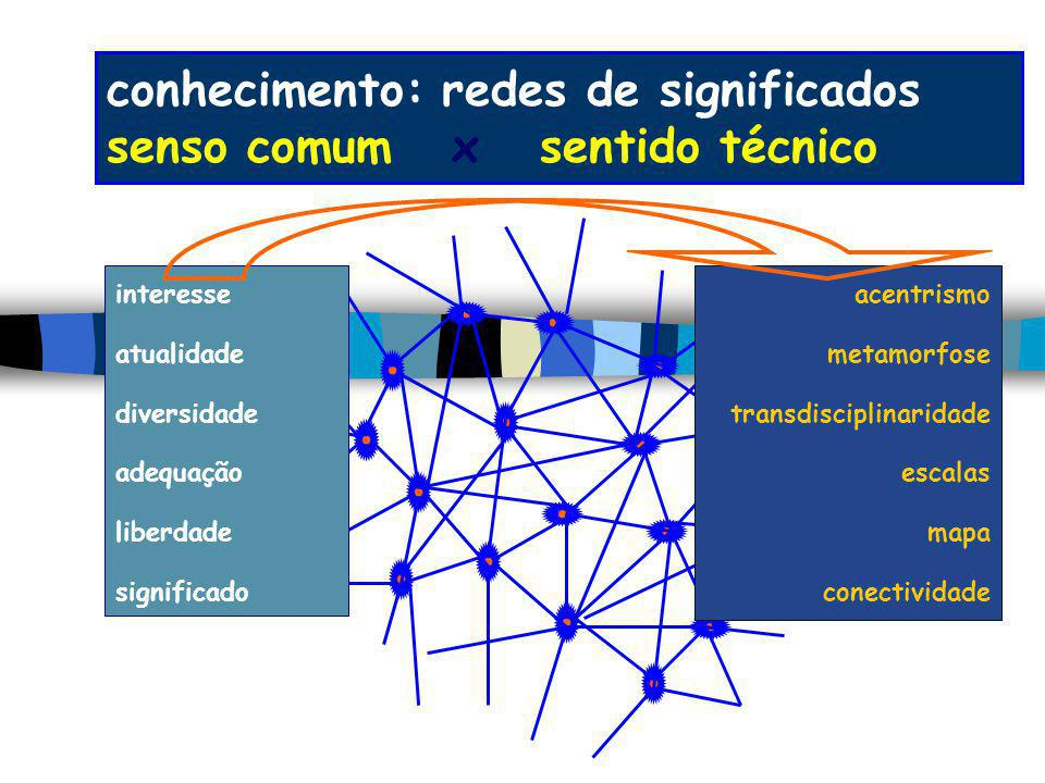 conhecimento: redes de significados senso comum x sentido técnico