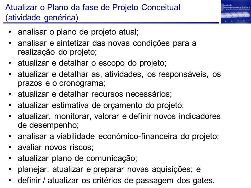 Atualizar o Plano da fase de Projeto Conceitual (atividade genérica)