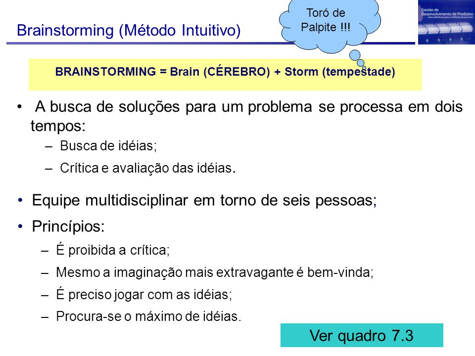 BRAINSTORMING = Brain (CÉREBRO) + Storm (tempestade)