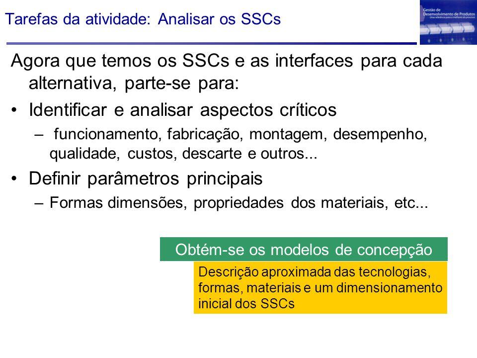 Tarefas da atividade: Analisar os SSCs