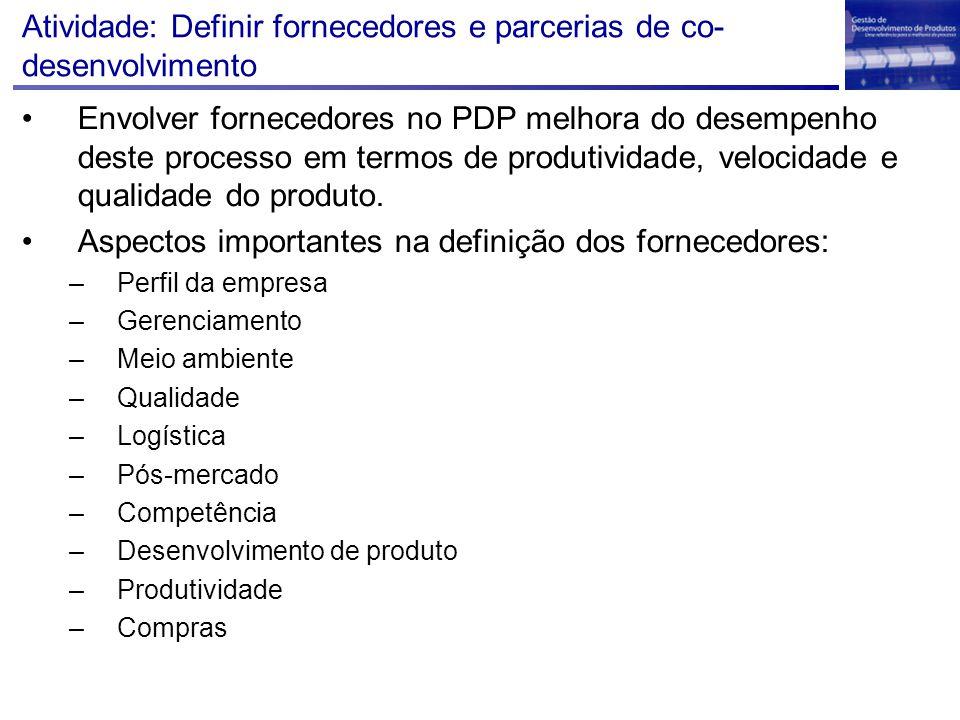 Atividade: Definir fornecedores e parcerias de co-desenvolvimento