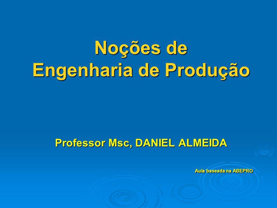 Noções de Engenharia de Produção Professor Msc, DANIEL ALMEIDA