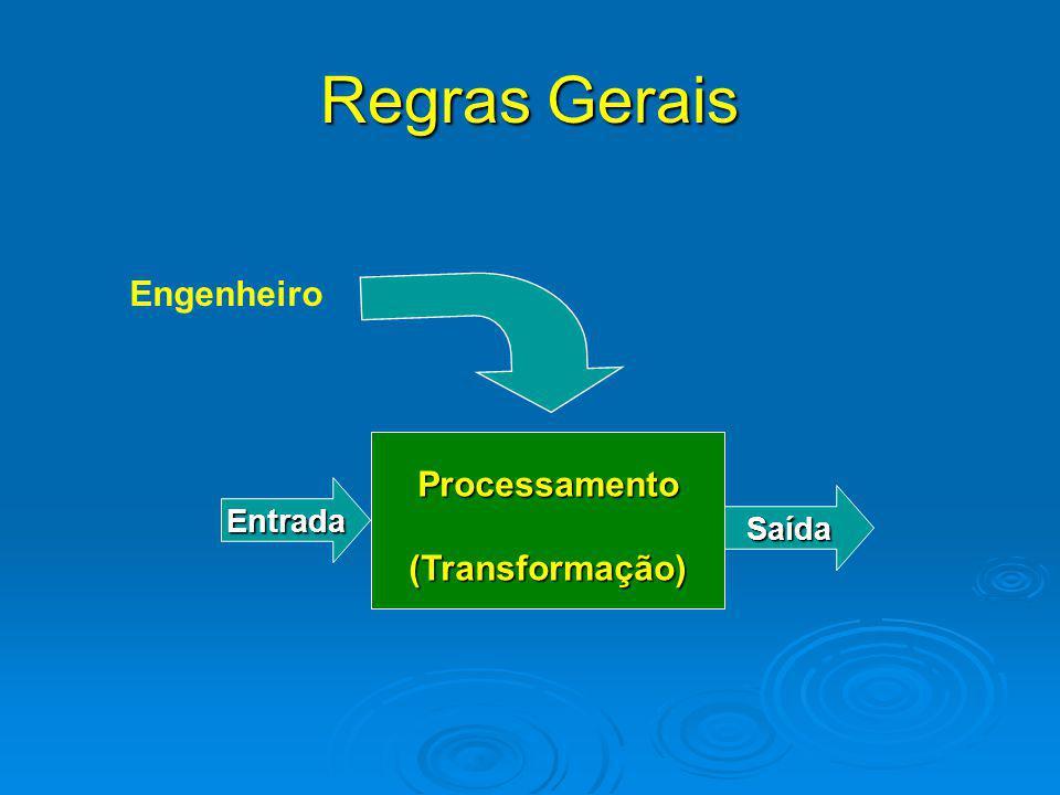 Regras Gerais Engenheiro Processamento (Transformação) Entrada Saída