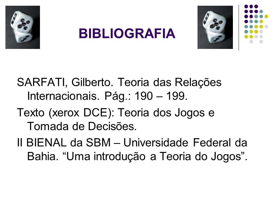 BIBLIOGRAFIA SARFATI, Gilberto. Teoria das Relações Internacionais. Pág.: 190 – 199. Texto (xerox DCE): Teoria dos Jogos e Tomada de Decisões.