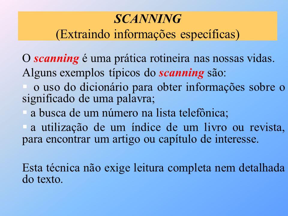 SCANNING (Extraindo informações específicas)