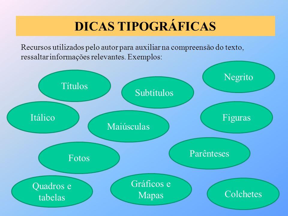 DICAS TIPOGRÁFICAS Negrito Títulos Subtítulos Itálico Figuras