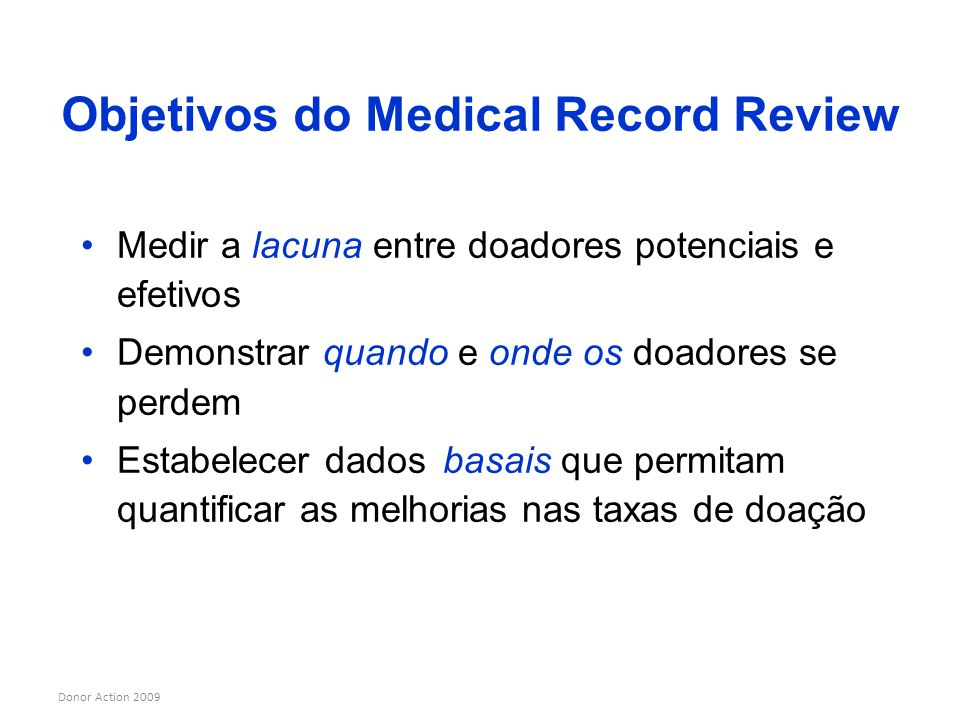 Objetivos do Medical Record Review