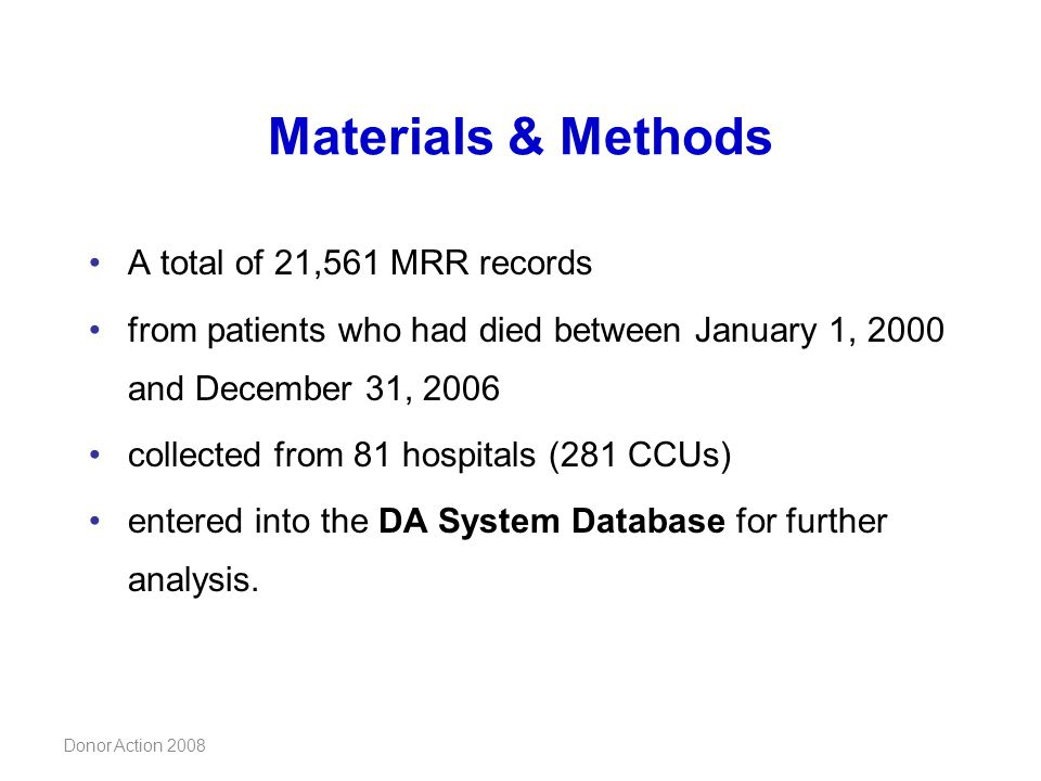 Materials & Methods A total of 21,561 MRR records