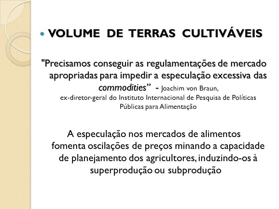 VOLUME DE TERRAS CULTIVÁVEIS