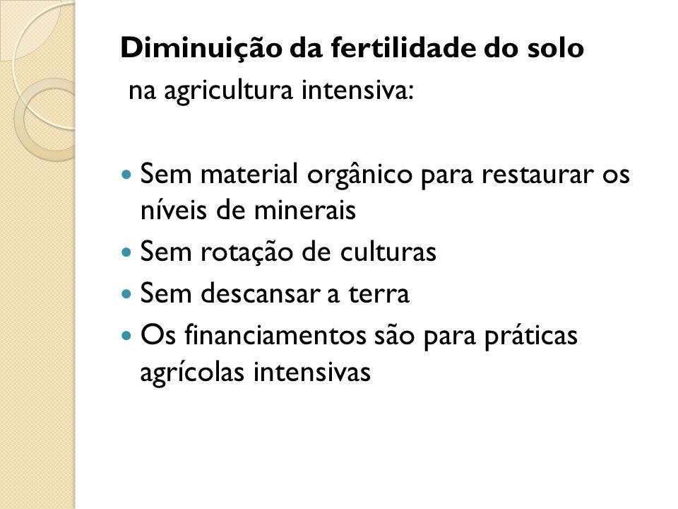 Diminuição da fertilidade do solo