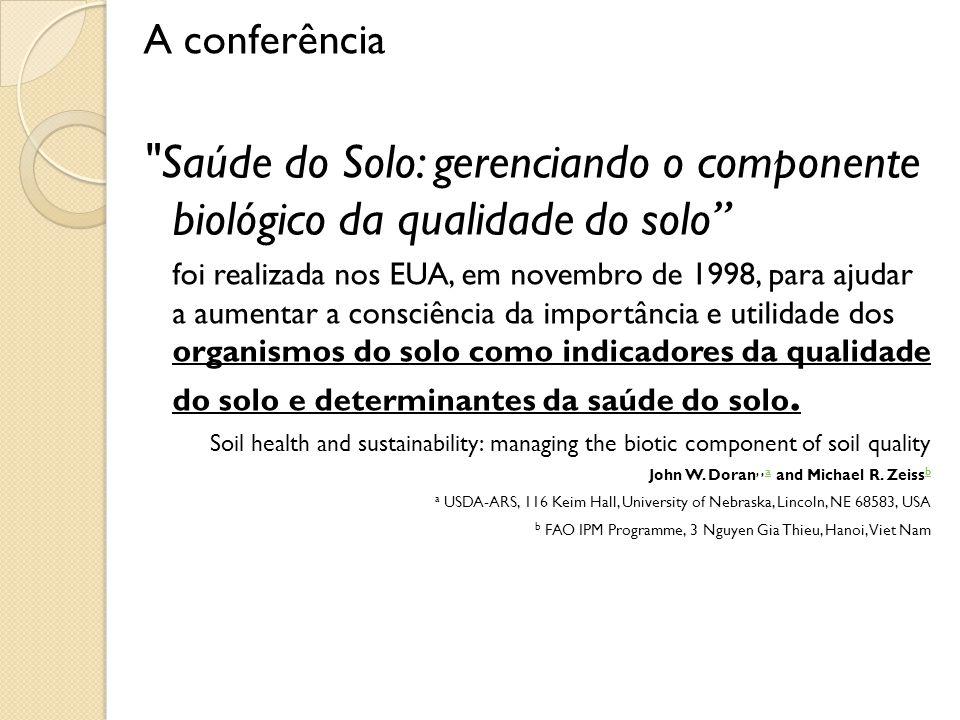 A conferência Saúde do Solo: gerenciando o componente biológico da qualidade do solo