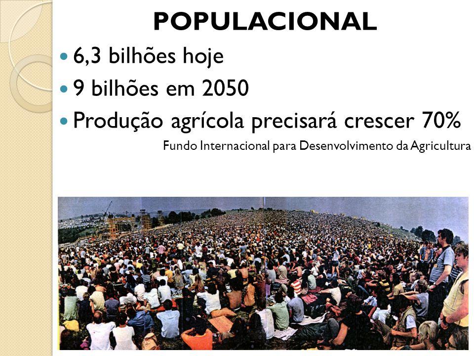 POPULACIONAL 6,3 bilhões hoje 9 bilhões em 2050